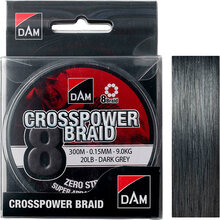 Шнур DAM Crosspower 8-Braid 300 м 0.15 мм 9.0 кг Grey (65849)