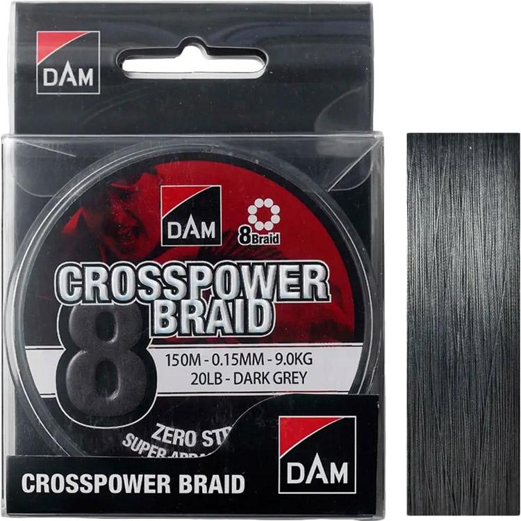 Шнур DAM Crosspower 8-Braid 150 м 0.15 мм 9.0 кг 20 Lb Dark Grey (66588)