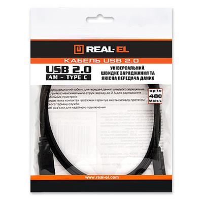 Кабель REAL EL USB2.0 AM-Type C 1m black (EL123500016) Длина 1