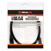 Кабель REAL EL USB2.0 AM-Type C 1m black (EL123500016)