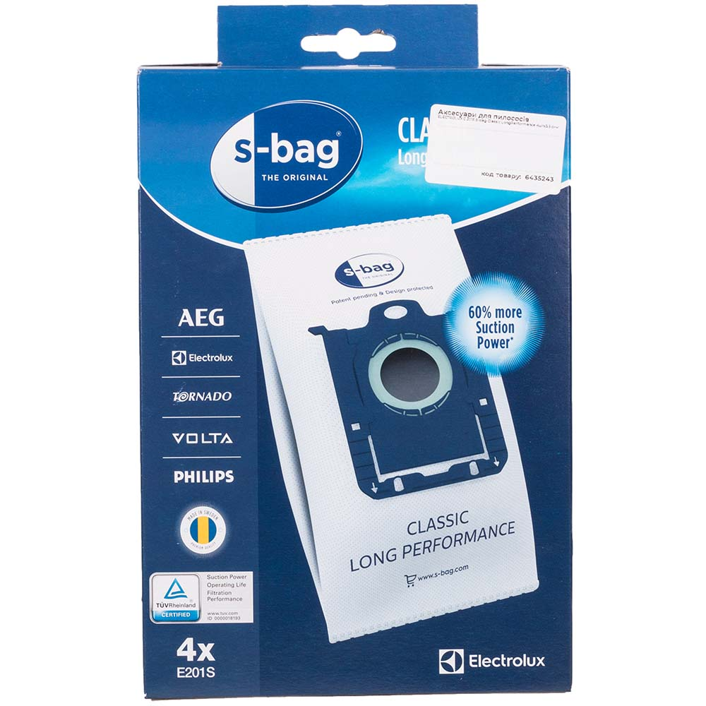 Мешок ELECTROLUX E 201S S-bag Classic LongPerformance 4 шт х 3.5 (900168458) Совместимость по бренду Electrolux