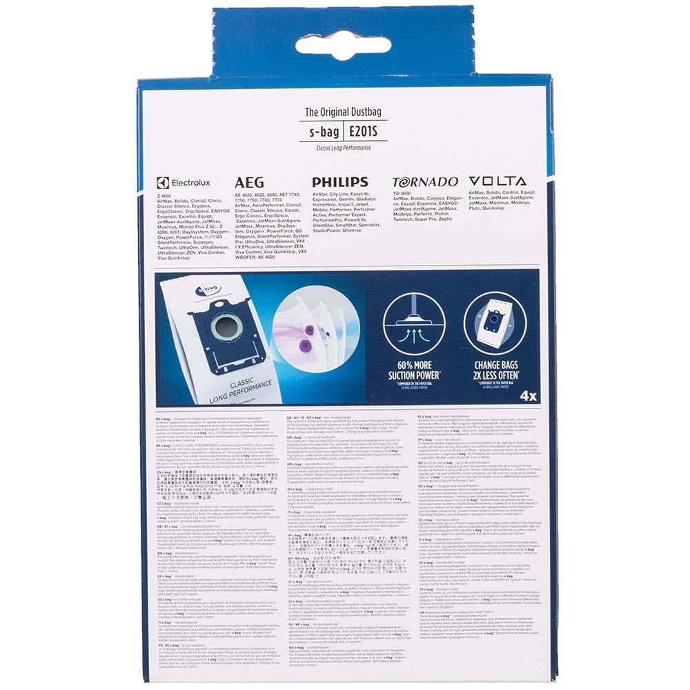 Фото 2 Мешок ELECTROLUX E 201S S-bag Classic LongPerformance 4 шт х 3.5 (900168458)