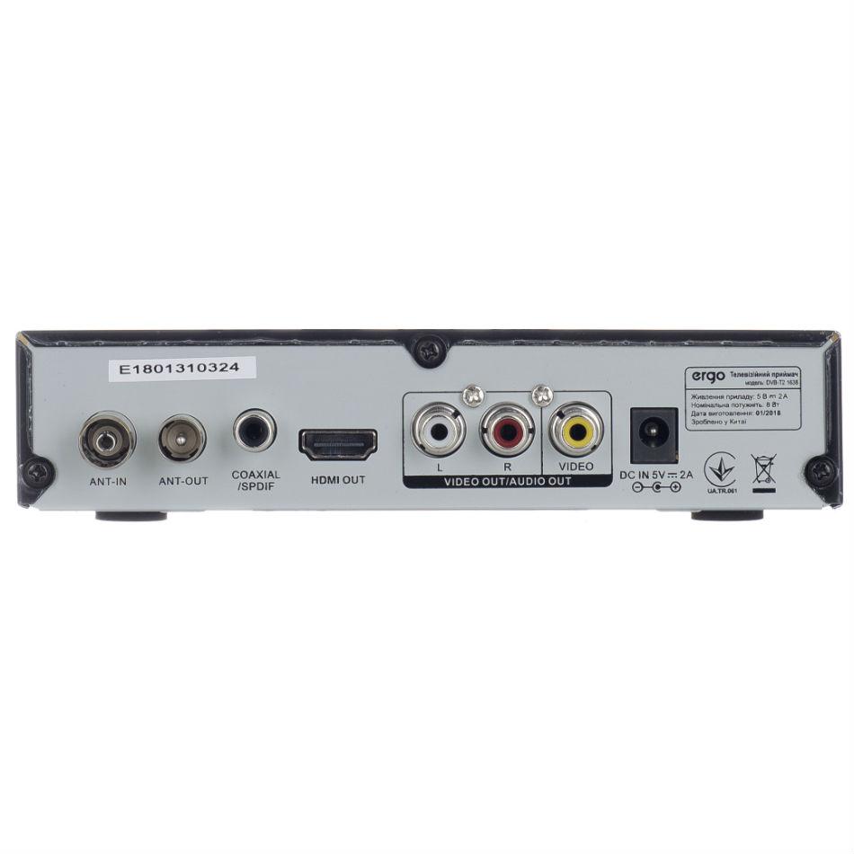 Цифровой тюнер ERGO DVB-T2 1638 Разъемы RCA (композитный)