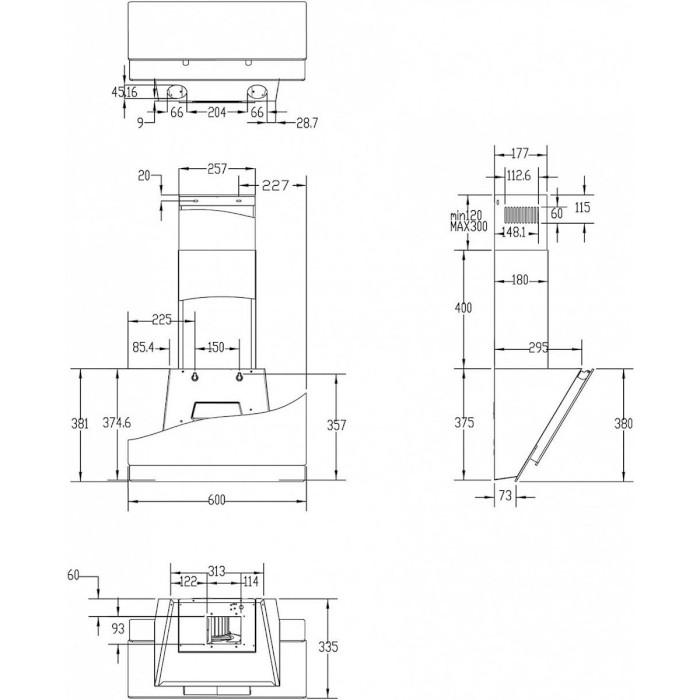 Вытяжка HAIER HVX-W672GB Режим работы отвод