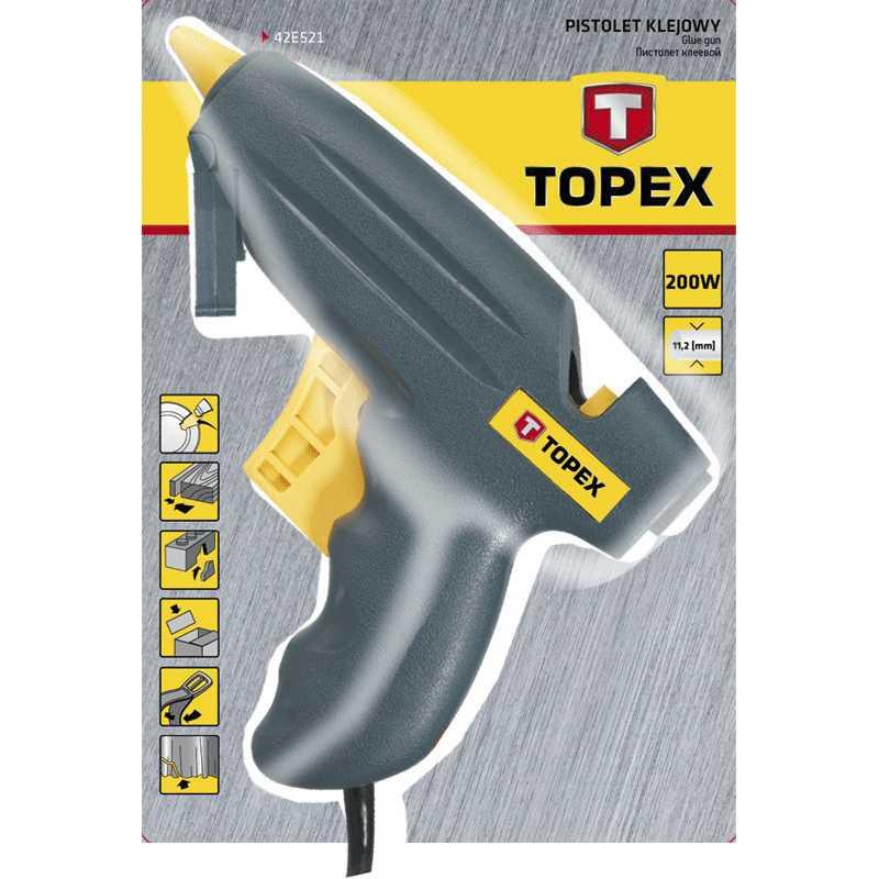 Клеевой пистолет TOPEX электрический 11 мм 200 Вт (42E521) Мощность 200