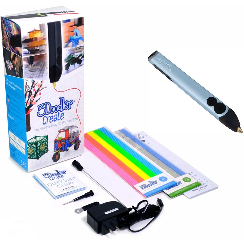 3D-ручка 3DOODLER Create - ГОЛУБОЙ МЕТАЛЛИК (50 стержней) (3DOOD-CRE-PBLUE-EU) Дополнительно Комплектация: 3D-ручка, адаптер, отвертка, ключ для сопел, шомпол, стержни из ABS 50 шт., инструкция; 2 скорости и 2 температурных режима
