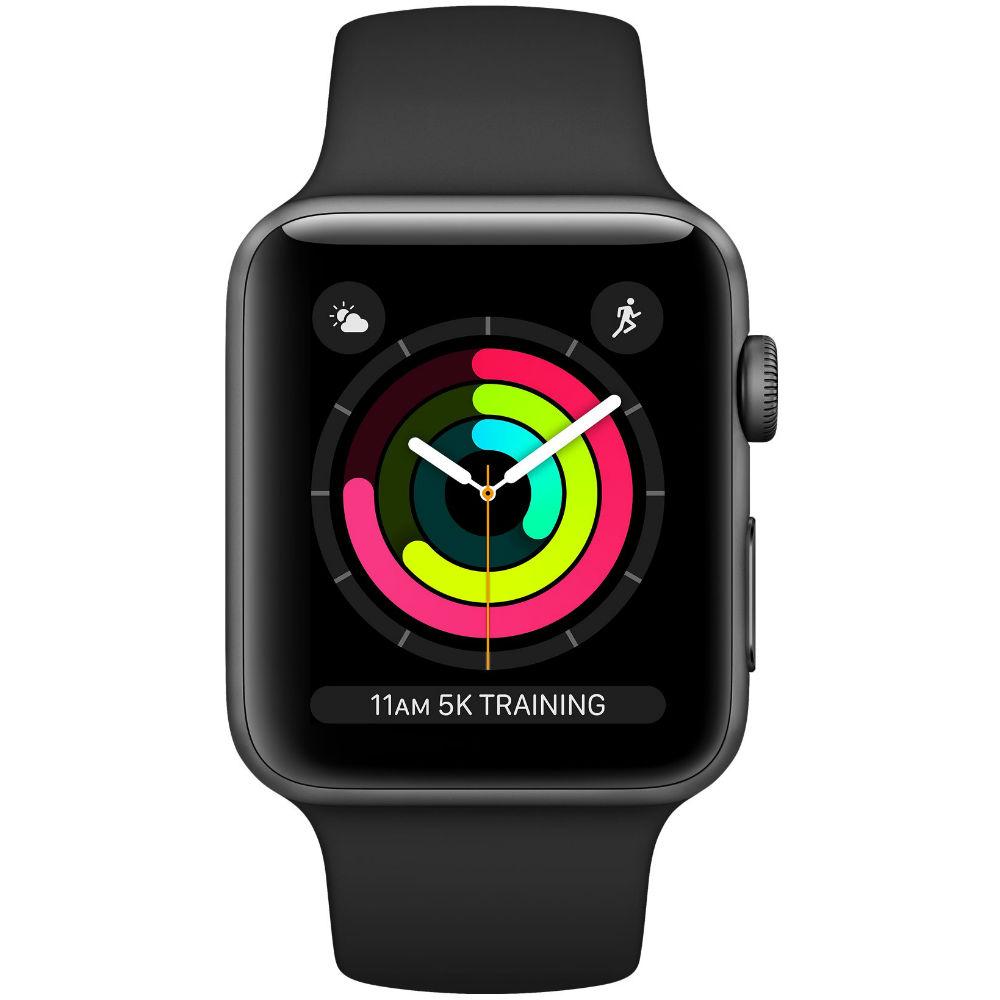 Смарт-часы APPLE Watch Series 3 GPS 38mm Space Grey Aluminium Case with Black Sport Band (MTF02FS/A) Функциональность для взрослых