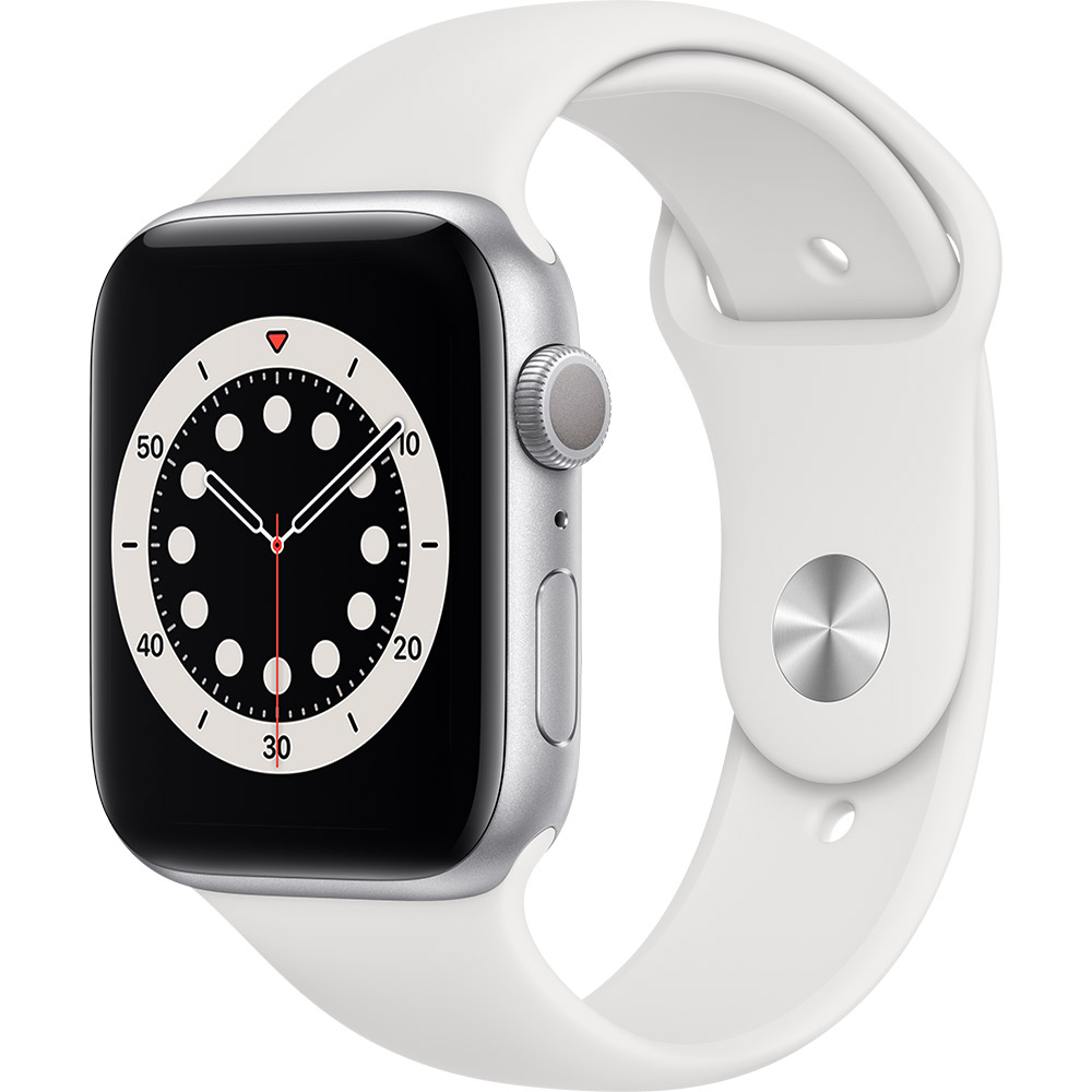 Смарт-часы APPLE Watch S6 GPS 44 Silver Alum White Sp/B (M00D3UL/A)