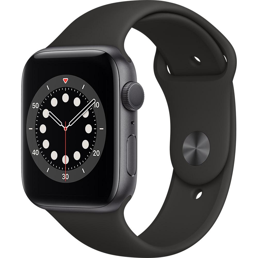 Смарт-часы APPLE Watch S6 GPS 44 Space Grey Alum Black Sp/B (M00H3UL/A)