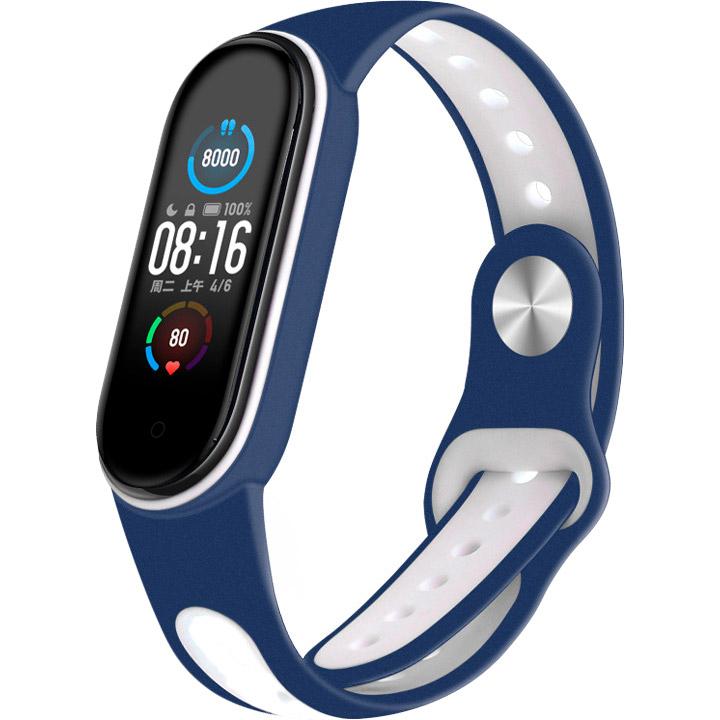 Ремінець BECOVER Sport Style для Xiaomi Mi Smart Band 5 Blue-White (705171)