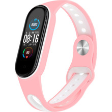 Ремешок BECOVER Sport Style для Xiaomi Mi Smart Band 5 Pink-White (705173)