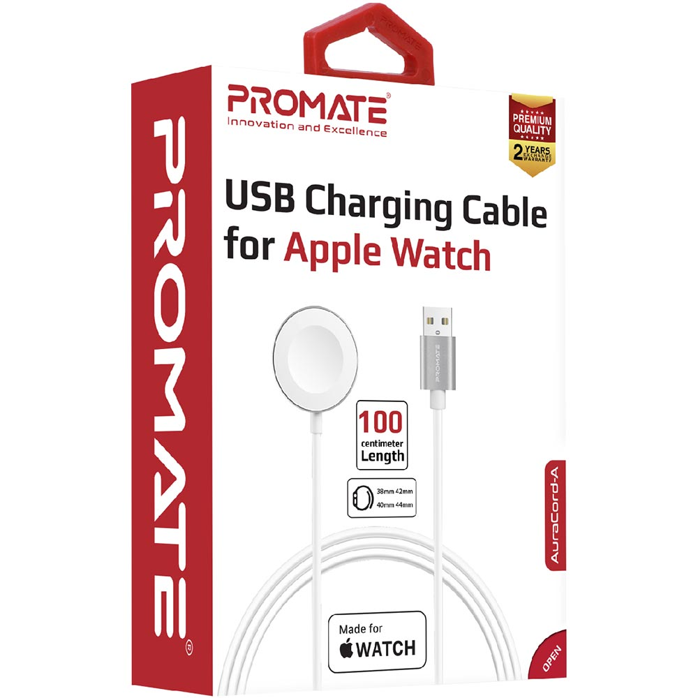 Кабель для зарядки PROMATE USB-A для Apple Watch auracord-a.white Тип кабель для зарядки
