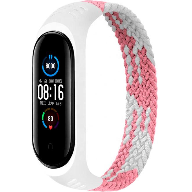 Ремешок BeCover Elastic Nylon Style для Xiaomi Mi Smart Band 5/6 Size S Pink-White (706142)