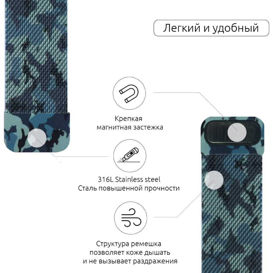 Браслет Armorstandart Milanese Loop Band Apple Military Watch Blue (ARM52953) Тип браслет