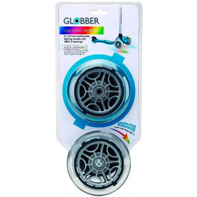 Запчастина до самокатів GLOBBER серії Primo / Elite / Evo / Flow набір коліс 121 мм світяться блістер (526-009)
