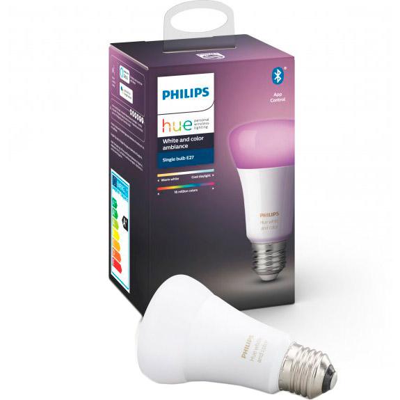 Умная лампа Philips Hue Single Bulb E27 9W (60Вт) 2000K-6500K Color Bluetooth димируемая (929002216824) Тип лампочка