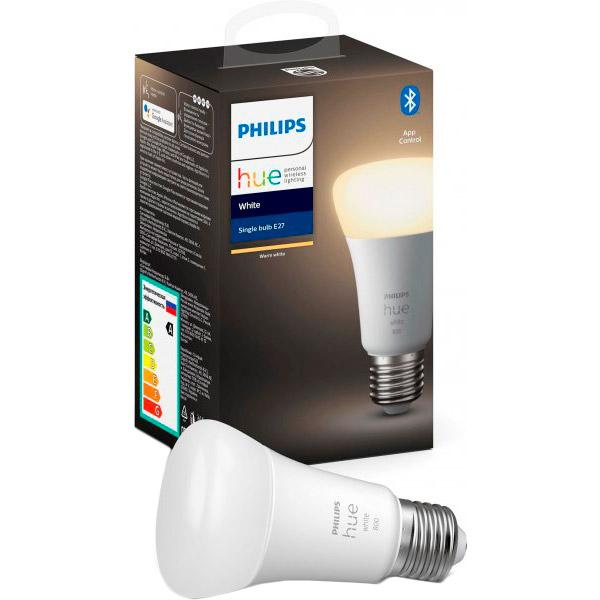 Розумна лампа Philips Hue Single Bulb E27 9W (60 Вт) 2700K White Bluetooth діміруемая (929001821618) Тип лампочка