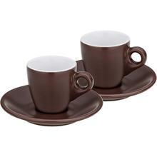 Набор чашек с блюдцем KELA Mattia 4 шт коричневый (12755)