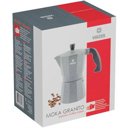 Гейзерная кофеварка VINZER Moka Granito (89397) Количество приготавливаемых чашек 3