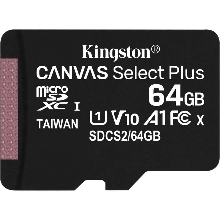 Карта памяти KINGSTON microSDXC 64Gb Canvas Select+ A1 (R100/W10) (SDCS2/64GBSP) Объём памяти 64 Гб