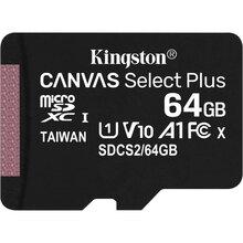 Карта памяти KINGSTON microSDXC 64Gb Canvas Select+ A1 (R100/W10) (SDCS2/64GBSP)