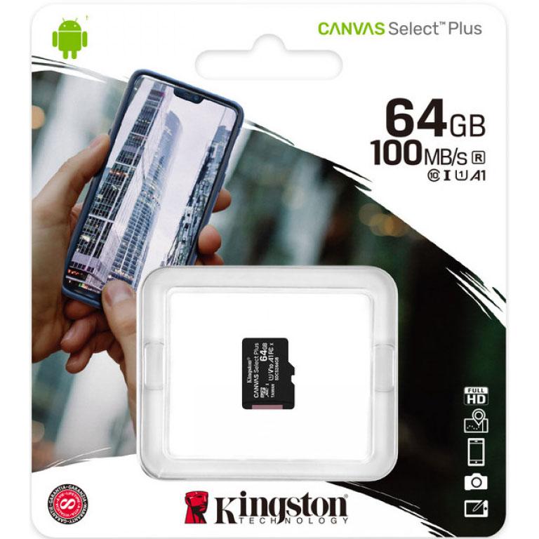 Карта памяти KINGSTON microSDXC 64Gb Canvas Select+ A1 (R100/W10) (SDCS2/64GBSP) Класс 10