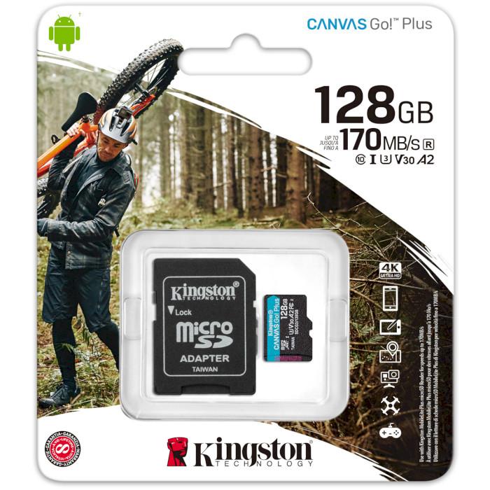 Карта памяти KINGSTON microSDXC 128Gb Canvas Go+Class 10 UHS-I U3 V30 + SD-adapter (SDCG3/128GB) Объём памяти 128 Гб