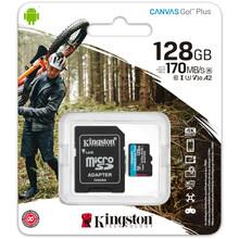 Карта памяти KINGSTON microSDXC 128Gb Canvas Go+Class 10 UHS-I U3 V30 + SD-adapter (SDCG3/128GB)