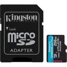 Карта памяти KINGSTON microSDXC 256Gb Canvas Go+ UHS-I U3 V30 A2 Class 10 + SD-adapter (R170/W90)