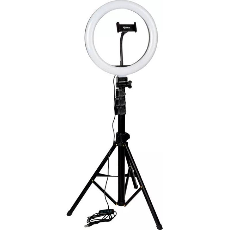 Комплект блогера 5 в 1 GELIUS Blogger Set Life Hack Improved GP-BS002 Дополнительные особенности диапазон температур – 3000-6500К, комплектация: кольцевая Led лампа, штатив, микрофон – петличка, держатель для смартфона, пульт ДУ