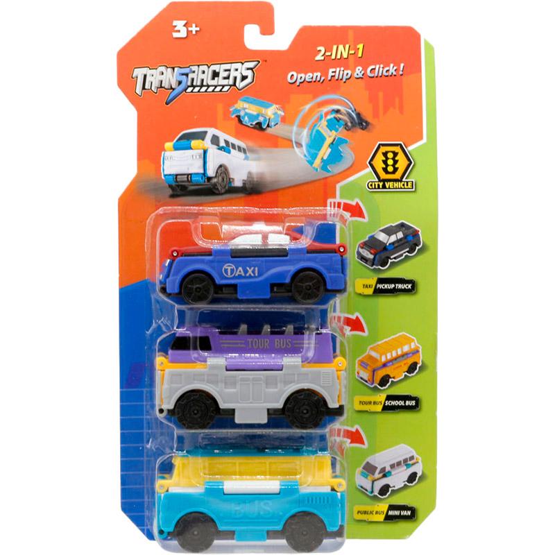 Набор машинок TRANSRACERS Городской транспорт 2 в 1 3 шт YW463879)