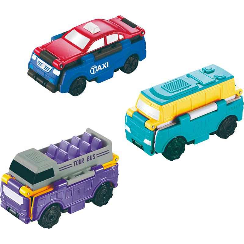 Набор машинок TRANSRACERS Городской транспорт 2 в 1 3 шт YW463879) Возраст от 3 лет