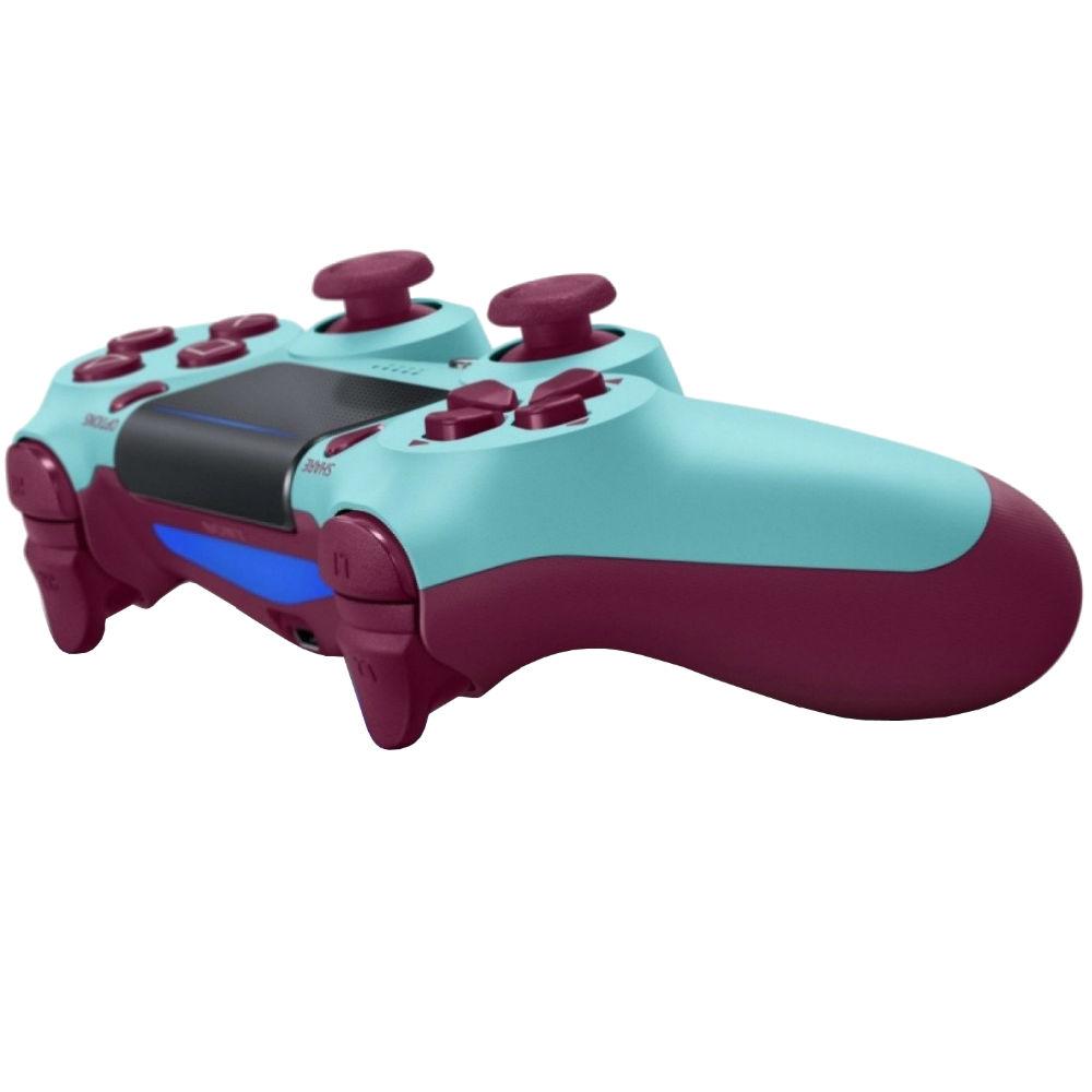 Геймпад SONY PlayStation Dualshock v2 Berry Blue (9718918) Особенности улучшенные аналоговые джойстики, сенсорная панель, световая панель, виброотдача, встроеный динамик, разьем стереогарнитуры, акселерометр, гироскоп, встроенный литий-ионный перезаряжаемый аккумулятор 1000 мАч