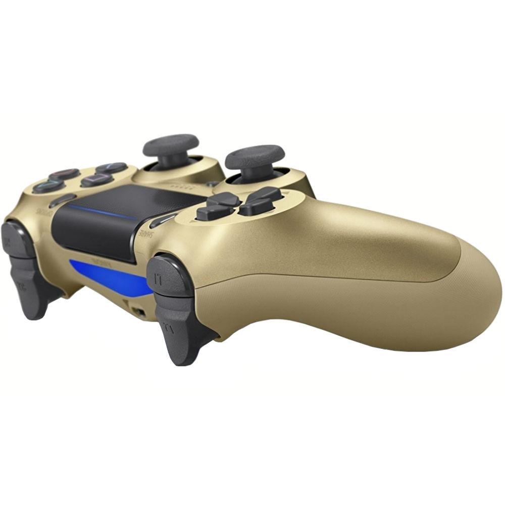 Геймпад SONY PlayStation Dualshock v2 Gold (9895558) Особенности улучшенные аналоговые джойстики, сенсорная панель, световая панель, виброотдача, встроеный динамик, разьем стереогарнитуры, акселерометр, гироскоп, встроенный литий-ионный перезаряжаемый аккумулятор 1000 мАч