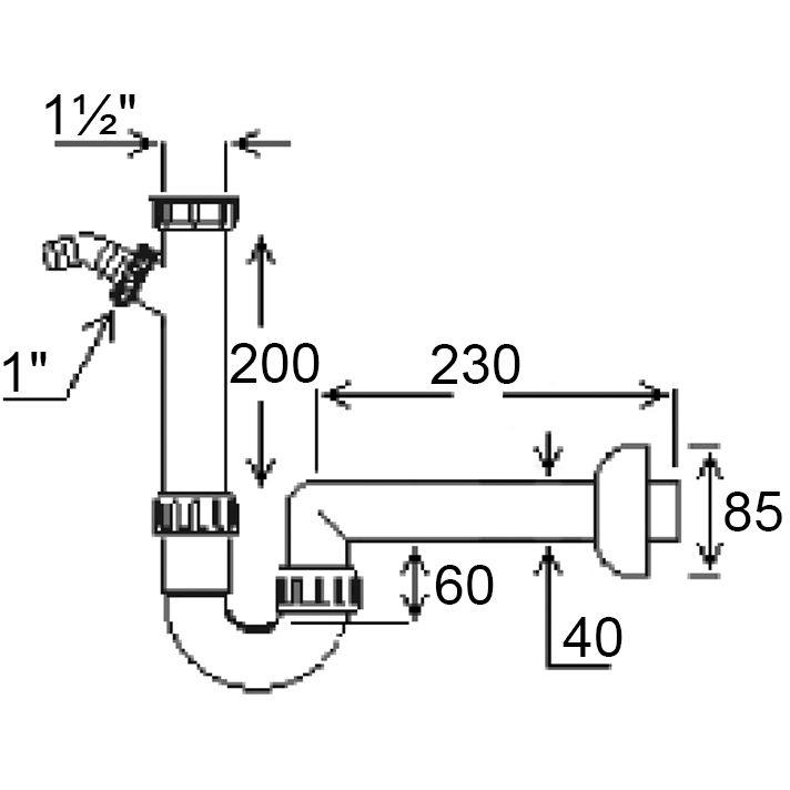 """Сифон GHIDINI для мийки з 40х1 1/2""""SpA (126) Призначення для кухонних мийок"""