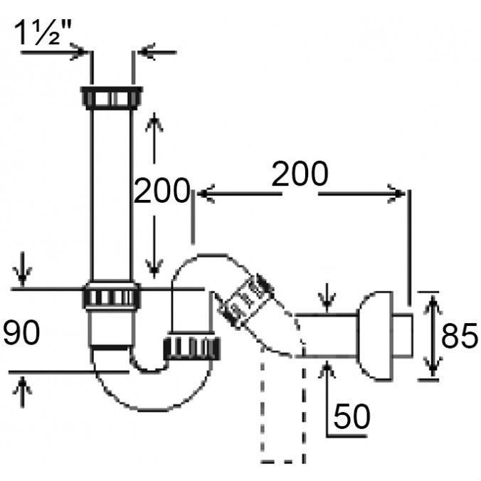 """Сифон GHIDINI для мийки O50 х 1 1/2""""SpA (128) Призначення для кухонних мийок"""