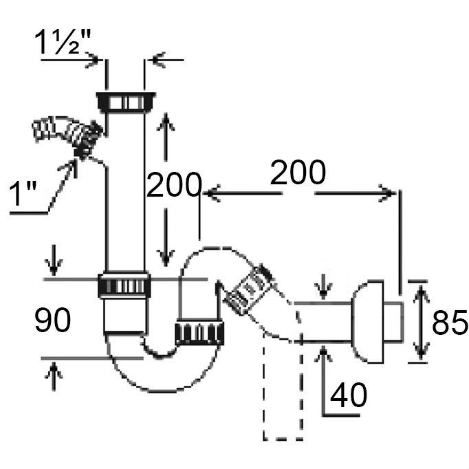 """Сифон GHIDINI для мийки O40 х 1 1/2""""SpA (129) Призначення для кухонних мийок"""