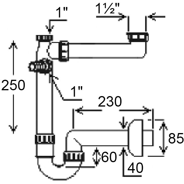 """Сифон GHIDINI для мийки 40х1 1/2""""SpA (144) Призначення для кухонних мийок"""