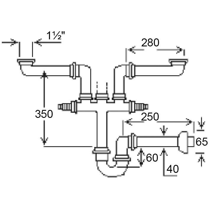 """Сифон GHIDINI для подвійної мийки 40x1 1/2""""SpA (155) Призначення для кухонних мийок"""