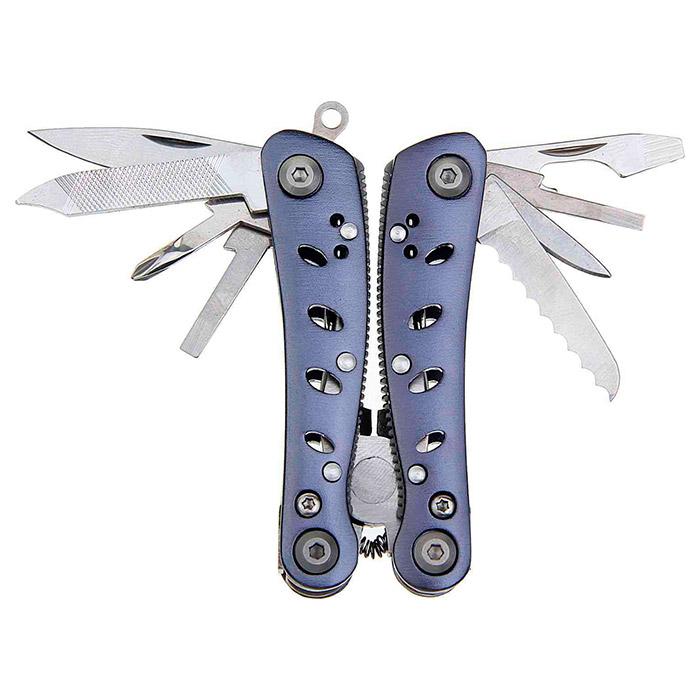 Мультитул GANZO G2019 S Інструменти в комплекті великий ніж, зубчастий ніж консервний ніж, кусачки, викрутка хрестова, викрутка шлицевая, викрутка шлицевая мала, відкривачка для пляшок, паз для згинання дроту, пилка для нігтів, плоскогубці, шило