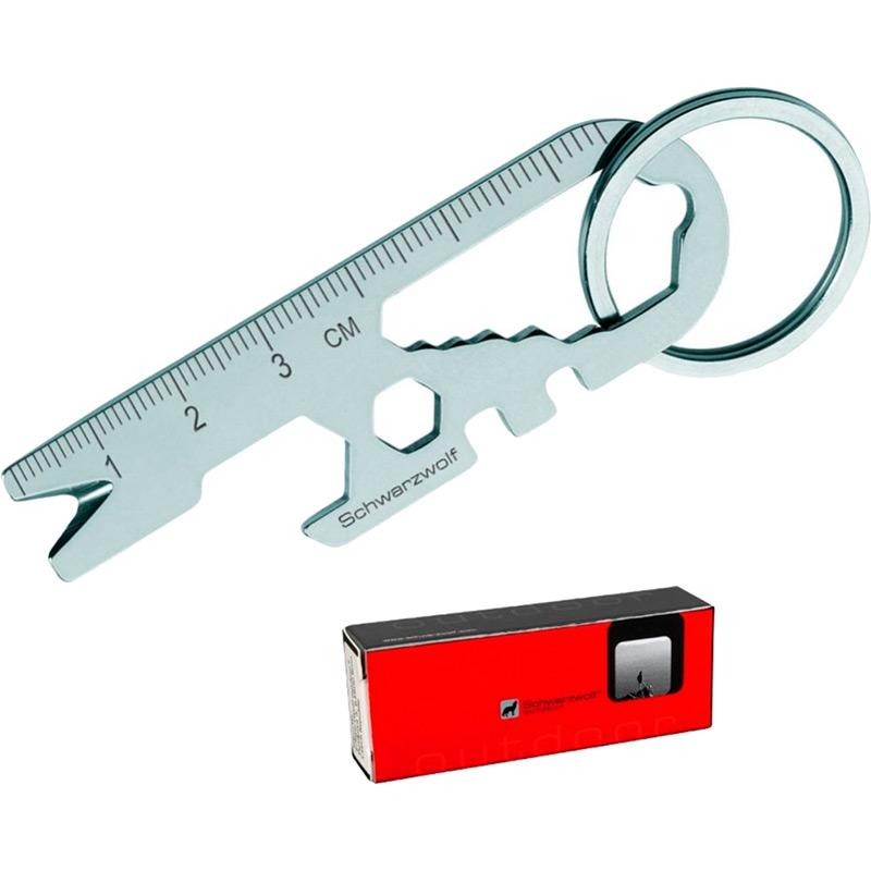 Мультитул-брелок SCHWARZWOLF ATACAMA (F6000100AJ3) Інструменти в комплекті лінійка для вимірювання 7 см, магніт, інструмент для манікюру, гайковий ключ (6 розмірів), відкривачка для пляшок, інструмент для зняття або регулювання ніпеля, ключ для спиць (2 розміру)