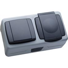 Вимикач MAKEL 1-клавішний +розетка з кришкою (36064202)