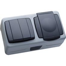 Выключатель MAKEL 2-клавишный + розетка з крышкой (36064203)