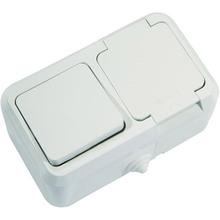 Вимикач 1-клавішний + розетка з кришкою Makel IP44 (18350)