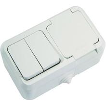 Вимикач 2-клавішний + розетка з кришкою Makel IP44 (18351)