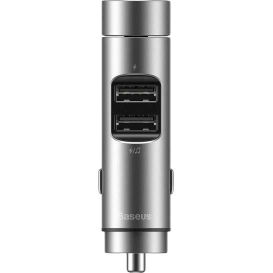 FM-трансмиттер BASEUS Energy Column 3.1A 2 USB silver (29246silver) Дополнительно диапазон частот: 87.5 - 99.9 МГц, питание: прикуриватель 12-24 В, воспроизведение файлов: MP3/WMA, расстояние Bluetooth : 5-10 м, интерфейсы: линейный вход, USB, Bluetooth