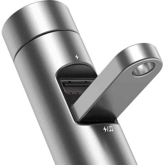 FM-трансмиттер BASEUS Energy Column 3.1A 2 USB silver (29246silver) Защита от короткого замыкания False