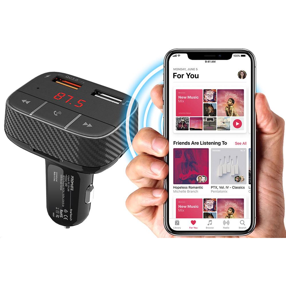 FM трансмиттер Promate SmarTune-2+ Black (smartune-2+.black) Дополнительно 87.5 - 108.0 МГц, Bluetooth, кардридер, USB, AUX, громкая связь, микрофон, быстрая зарядка QC 3.0, пульт ДУ, LED дисплей