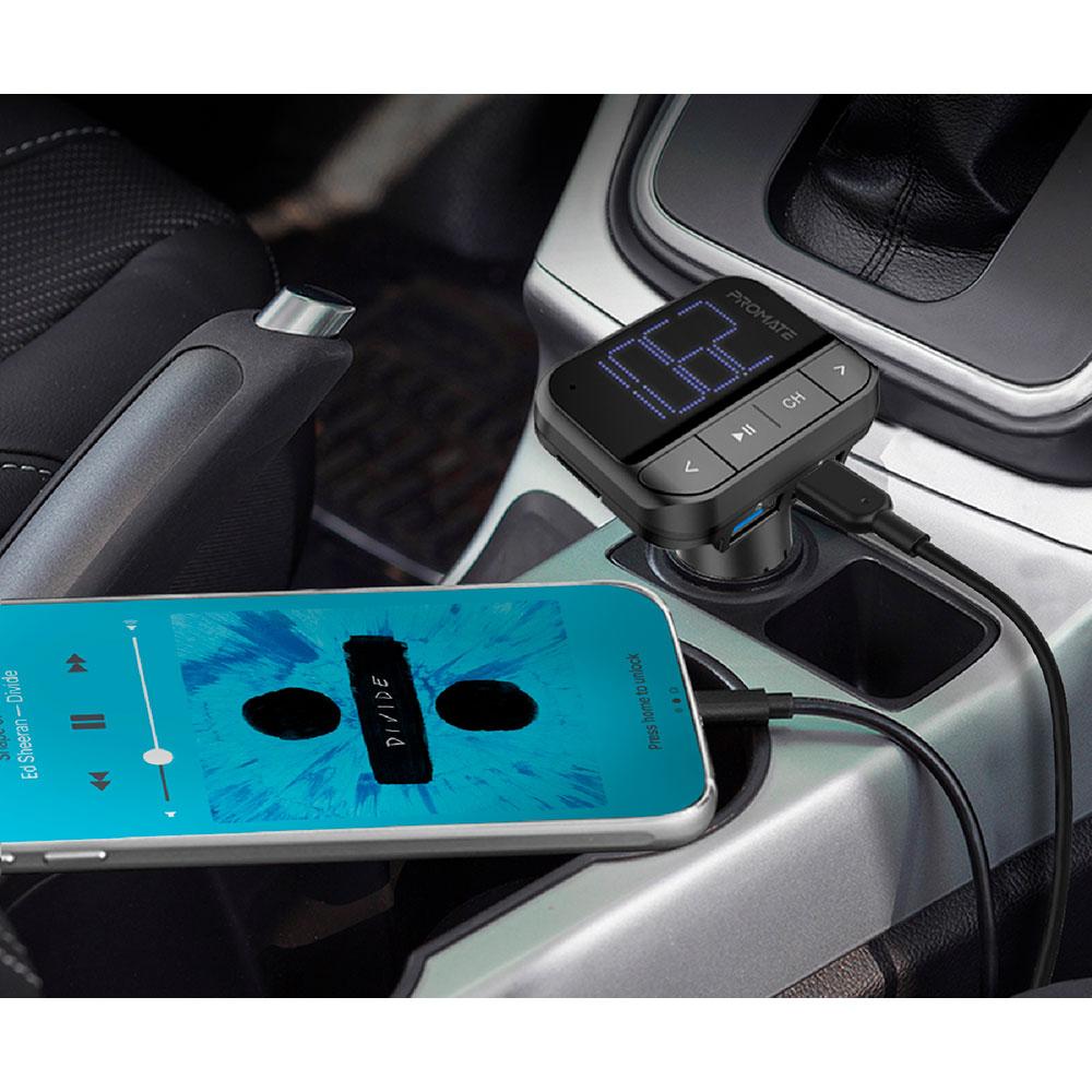 FM трансмиттер Promate ezFM-2 AUX/SD/USB Black Защита от короткого замыкания False