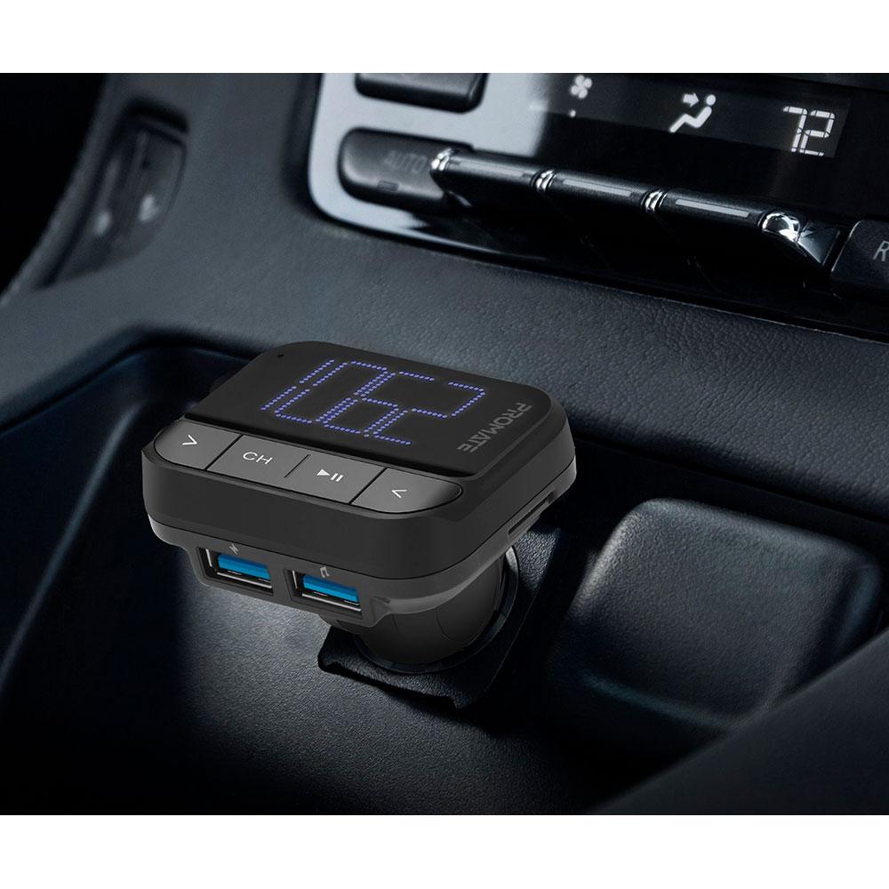 FM трансмиттер Promate ezFM-2 AUX/SD/USB Black Защита от перегрева False